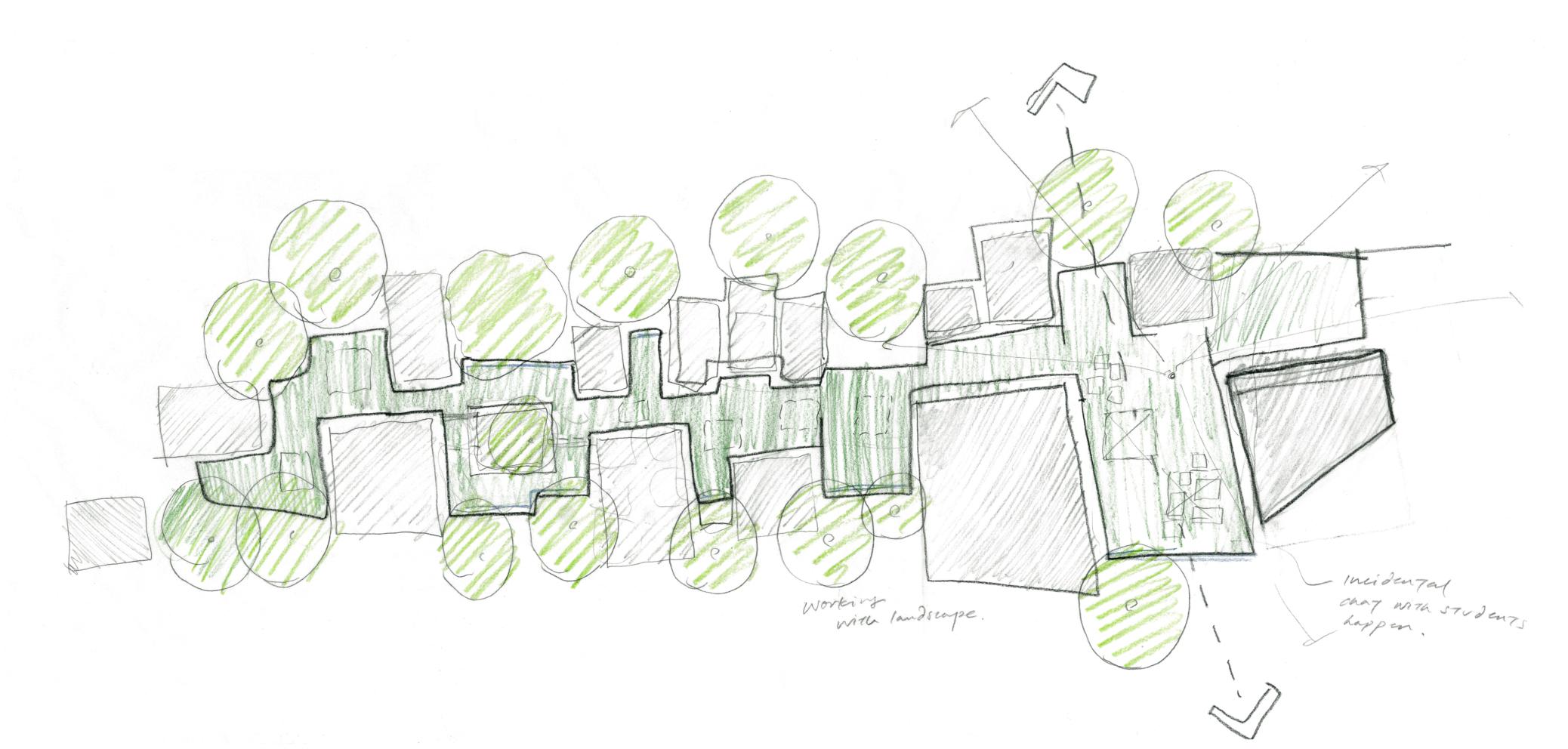 Music School for Stowe School sketch plan 1